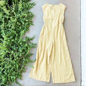 Free People Heat Wave Open Back Vented Linen-Blend Jumpsuit in Honey, Size XL